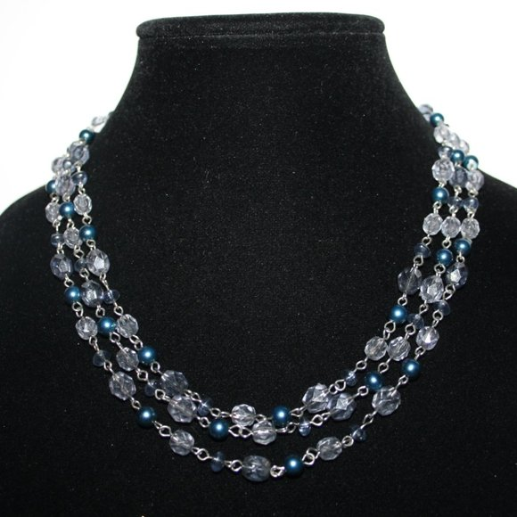Beautiful silver and blue layered beaded necklace